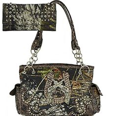 AM31Mossy Oak Studded Crossed Gun Purse Camouflage Print Tote Handbag And Wallet SetMT158793SET Coffee -- Check out this great product.