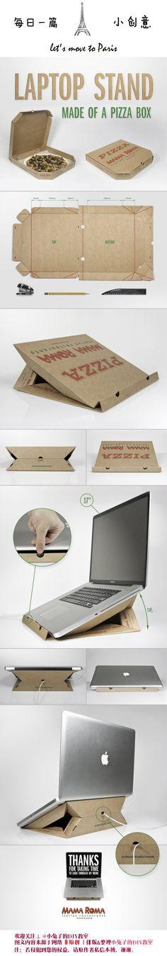 Cajas para la pizza soporte portátil cambio instantáneo, esto es genial!  Adivina cómo se hace!