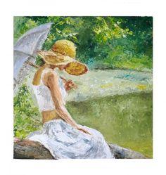 Donna con l'ombrello - ©2012 Pittura, Impressionismo, oil paint impressionist simpressionism style monet women whit umbrella