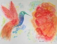 Hummingbird in Flight - Watercolor Academy Art Competition entry