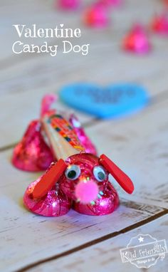Make a Valentine's Candy Dog for a Fun Kid's Craft and Treat - Easy and Fun to Make! Made from Hershey's Kisses and Smarties Candy.