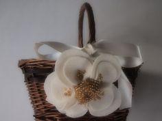 Flower Girl Basket Wedding Ivory Gold Poppy flower choose your colors #flowergirlbasket by ArtisanFeltStudio on Etsy, $34.00