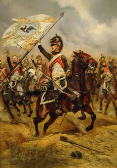 French dragoon with captured prussian flag, Battle of Jena
