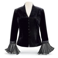 Victoria Velvet & Georgette Jacket - This alluring, black-velvet jacket gains touches of flair with expressive, sheer georgette cuffs, topped by embroidered, bead-accented bands. Checker-faceted buttons close the front. Long sleeves; lined. Poly/spandex; 100% polyester lining.