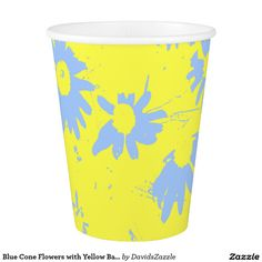 Blue Cone Flowers with Yellow Background Paper Cup  Available on more products, type in the name of this design in the search bar on my products page to view them all!  #cone #daisy #shasta #calendula #floral #flower #yellow #blue #pattern #print #all #over #abstract #plant #nature #earth #life #style #lifestyle #chic #modern #contemporary #home #decor #kitchen #dining