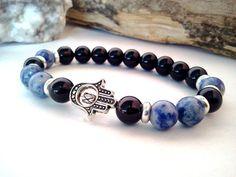 Mens Hamsa bracelet, Onyx and Sodalite Hamsa bracelet, Hamsa bracelet, Protection Good Luck bracelet, Mens Hamsa, Gemstone jewelry on Etsy, $21.98