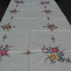 Cross Stitched Tablecloth - 102 Inches By 66 Inches- Beautiful