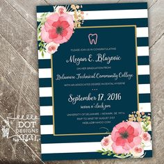 Pink and Navy Graduation Invitation  Floral with by MBdotDesigns