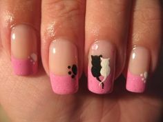 Cats in love - Nail Art Gallery by NAILS Magazine finger-nail-designs Fancy Nails, Love Nails, Pink Nails, Pretty Nails, Girls Nails, Cat Nail Art, Cat Nails, Painted Nail Art, Nail Art Galleries