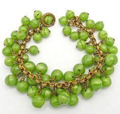 Vintage Chunky Beaded Bracelet 1950s Brass Apple Green Art Glass Cha Cha Dangle Drops