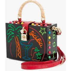 Dolce & Gabbana Dolce Box Light-Up Bag featuring polyvore, women's fashion, bags, handbags, shoulder bags, genuine leather purse, woven purse, real leather purses, leather purses and beaded purse