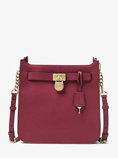 Michael Kors Hamilton Medium Leather Messenger  A True Style Icon The Hamilton Is Reimagined In A Streamlined Messenger Silhouette. Polished Lock-And-Key Hardware Punctuates This Leather Style With Signature Appeal While The Logo-Lined Interior Boasts Plenty Of Room For Your Phone Wallet And Keys. Carry It From Day To Evening For A Sense Of Sophisticated Chic.