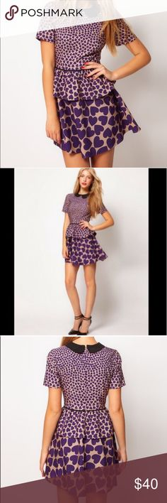 ASOS Purple Heart Peplum Dress 6 Brand new with tags! Size US 6 / UK 10 cotton viscos blend ASOS Dresses