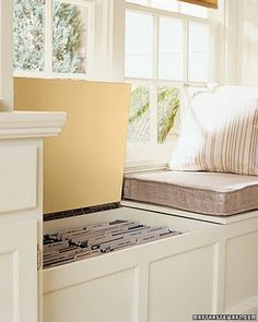 window seat file cabinet...nice use of space.