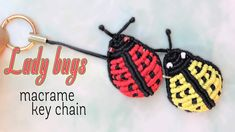 How to make macrame lady bug key chain - YouTube