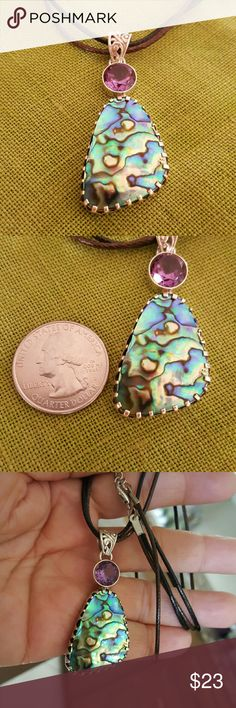 """Abalone Amethyst Sterling Silver Necklace Earth Art faceted genuine amethyst and gorgeous natural abalone shell in a hallmarked 925 solid sterling silver setting! 16-18"""" brown and black corded necklace.  New! Earth Art hand crafted artisan  Jewelry Necklaces"""
