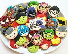 Superhero Sugar Cookies - Teen Titans - Avengers - Spiderman and Batman Cookies by Holli Fancy Cookies, Cupcake Cookies, Sugar Cookies, Batman Cookies, Disney Desserts, Avengers Poster, Boy Birthday, Birthday Ideas, Birthday Cookies