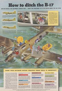 How to ditch the B-17 Flying Fortress. Military Jets, Military Aircraft, Military Weapons, B 17, Ww2 Aircraft, World War Two, Aviation Art, Air Force, Wwii