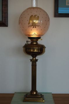 Antique Old Oil Kerosene GWTW Glass Eagle Gold Shade Impire Federal Banquet Lamp | eBay