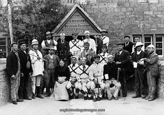 Morris Men,Headington Quarry Morris Dancers outside the Chequers public house, Headington, Oxfordshire. It was a meeting between this group and Cecil Sharp the folk musicologist at Sandfield Cottage in 1899 that heralded a folk revival in Britain. Henry Taunt 1898-99