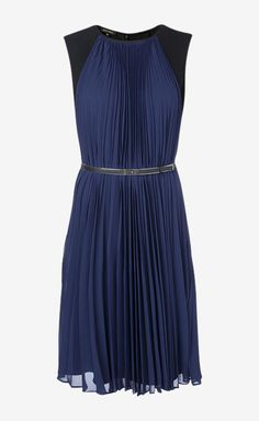 Pleated Blue Dress