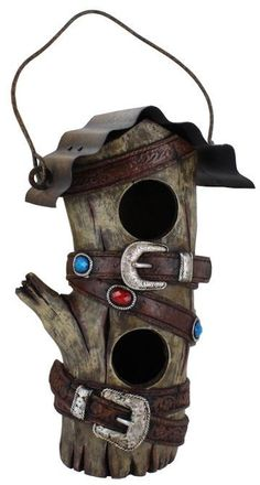 (RWRA4305) Western Hollow Wood Looking Birdhouse with Metal Roof and Belt