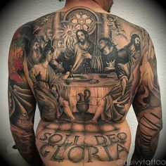 100 Religious Tattoos For Men Sacred Design Ideas Here we have great wallpaper about religious back tattoo designs. We hope these photos c. Full Tattoo, Full Back Tattoos, Back Tattoos For Guys, Religious Tattoos For Men, Catholic Tattoos, Religious Art, Bible Tattoos, Body Art Tattoos, Sleeve Tattoos