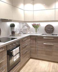 Kitchen Room Design, Kitchen Dinning, Interior Design Living Room, Kitchen Decor, Modern Kitchen Cabinets, Kitchen Cabinet Colors, Kitchen Flooring, Beautiful Kitchens, Cool Kitchens