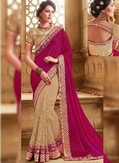 Rani Pink Beige Embroidery Work Silk Net Wedding Half  Sarees http://www.angelnx.com/Sarees/Wedding-Sarees