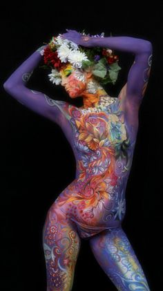 boho floral body art paint <3