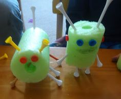 Pool noodles and golf tee creations, great fine motor activity from a wonderful blog.