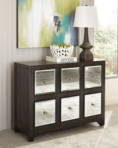 Scott Living Furniture Collection 950776 Rustic Brown Wooden Accent Cabinet with 6 MIrrored-Panel Drawers and Silver-Finished Drawer Knobs Mirrored Furniture, Cabinet Furniture, Living Furniture, Accent Furniture, Mirror Drawers, Black Sideboard, Buffet Cabinet, Cabinets For Sale, Coaster Furniture