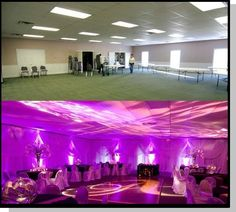 Renting Uplighting Before And After Gym Wedding ReceptionWedding