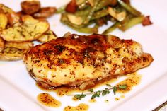 Maple-Mustard Glazed Chicken.  You'll never believe this is a low fat recipe! Yum!!