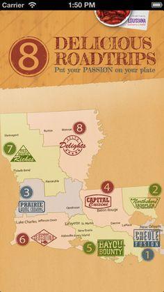Apple App for Louisiana Roadtrip and best restaurants in LA. https://itunes.apple.com/us/app/louisiana-culinary-trails/id632745190?mt=8