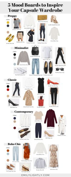 5 Mood Boards to Inspire Your Capsule Wardrobe // Emily Lightly