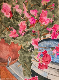 Original Watercolor by Susan Marie Fairclough, Looking Down On The Courtyard Carlsbad California, Unmatted 30X22