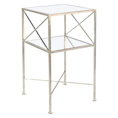 Worlds Away 2 tier table. With plain mirror shelves. Features: - Available two gold and silver colors - 2 tier table Measurements: w x h x d Square Side Table, End Table Sets, End Tables With Storage, Silver Side Table, Mirrored Side Tables, Mirror With Shelf, Mirror Shelves, Mirrors, Contemporary Side Tables