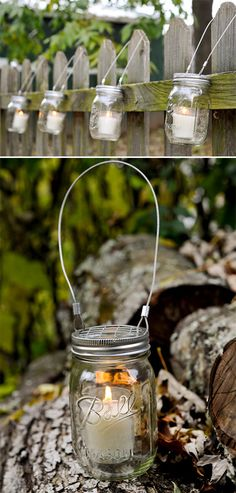 Mason Jar Hanging light. This would be great around our pool deck!