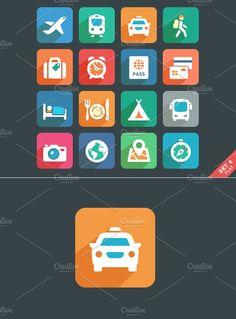 Traveling and transport Flat icons by Azaze11o on @creativemarket