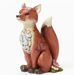 New-JIM-SHORE-Figurine-WOODLAND-RED-FOX-Quilted-Statue-HEARTWOOD-CREEK-Garden