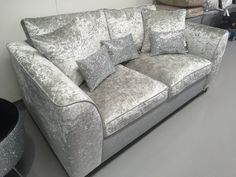 Exclusive Silver velvet with disco glitter two seater sofa with scatter cushions