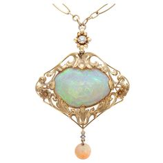 Art Nouveau Opal, Diamond Yellow Gold Necklace/Brooch, circa 1910.