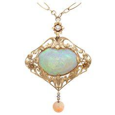 Art Nouveau Opal, Diamond Yellow Gold Necklace/Brooch, circa 1910.