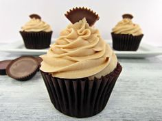 Chocolate Cupcakes with Peanut Butter Frosting! @the BearFoot Baker (Lisa) #cupcake #frosting #recipe