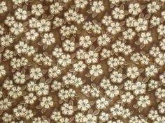 1YD Japanese Lifestyle STOF Design FLOWERS COFFEE Metallic Gold Japan Fabric #StofJapanese