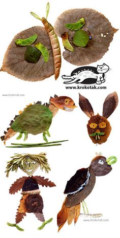 children activities, more than 2000 coloring pages Land Art, Leaf Crafts, Fall Crafts, Crafts For Kids, Leaf Projects, Art Projects, Theme Nature, Leaf Animals, Nature Collage