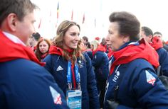 SOCHI, RUSSIA - FEBRUARY 06: Princess Anne (R) and Amy Williams (C) of Great Britain meet ahead of the Sochi 2014 Winter Olympics at the Olympic Park on February 6, 2014 in Sochi, Russia. (Photo by Paul Gilham/Getty Images)