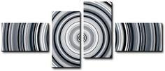Quadro moderno 4 pz stampa su tela cm 176x74 quadri arte ipnotic bianco e nero