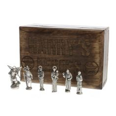 Personalized Heroes Box of Saints: mini pewter saint statues include St. Anthony, St. Michael the Archangel, Padre Pio, St. Joseph, St. Christopher, and St. Francis.